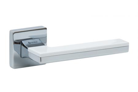 Ручки дверные LARISSA SQ CR/CR/AL7 хром/хром/белый глянцевый, арт.010643685  SYSTEM