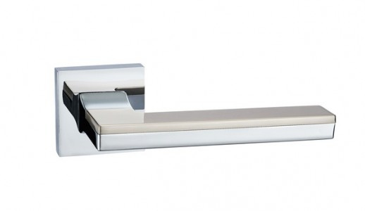 Ручка дверная  Квадро SN/PC (мат никель/хром)